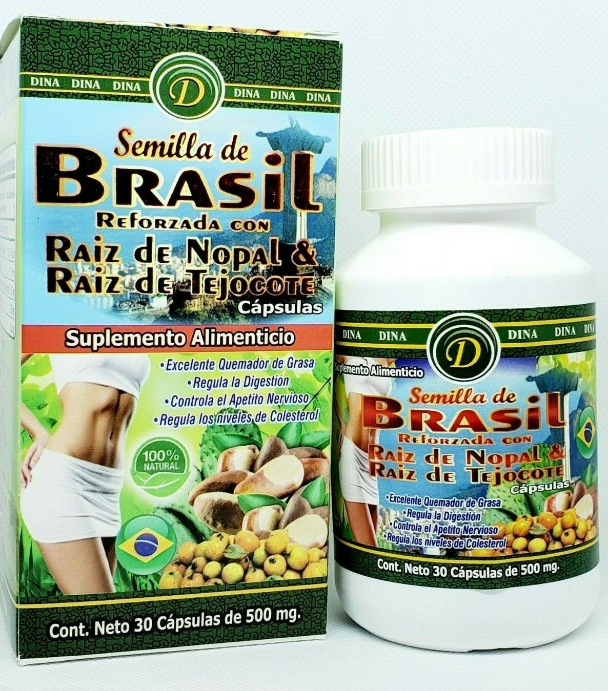 Semilla de Brasil Raiz de Nopal Tejocote Root Brazilian Seed Brazil 30 Capsules