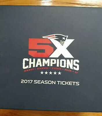 New England Patriots 2017 Season Ticket Holder Super Bowl Box with pins & Flag