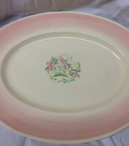 SUSIE COOPER CROWN WORKS BURSLEM ENGLAND DRESDEN OVAL SERVING PLATTER 18 1/4""