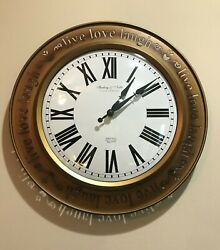 Sterling & Noble~Metal Analog Battery Young Town Quartz Wall Clock~16