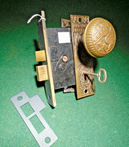 """LOCKWOOD BROKEN LEAF DOOR LOCK SETw/KEY - FACEPLATE 5 7/16""""  VERY NICE  (15154)"""