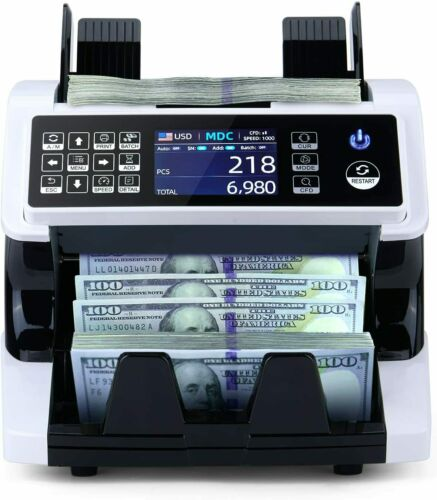MUNBYN Money Counter Machine Mixed Denomination Bill Counter and Sorter, 2 CIS/U