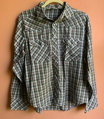 1970s Mens Shirt Styles – Vintage 70s Shirts for Guys vintage 1970s SEARS mens WESTERN plaid shirt snap pearl buttons sz 18 M L $19.00 AT vintagedancer.com