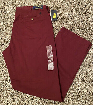NEW Polo Ralph Lauren Stretch Straight Fit Men's Chino Pants Maroon Size 36x30