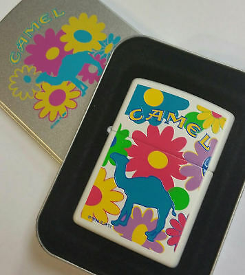CAMEL ZIPPO 1996 Z 189 White MATTE Camel Flower Power RARE MNT IN TIN.