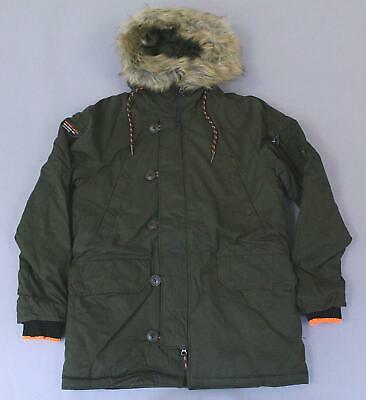 Superdry Men's Faux Fur Trim Parka Jacket GG8 Army Large NWT $169.50