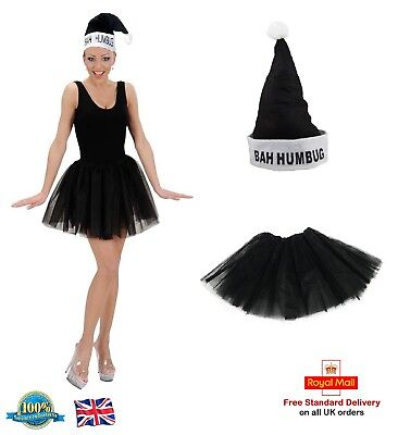 Ladies Black Santa Bah Humbug Costume Christmas Fancy Dress Hat & Tutu Outfit - Black Santa Outfit