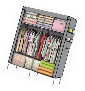Ordinaire 70in Portable Clothes Storage Closet Gray Organizer Shelf Wardrobe Racks  Shelves