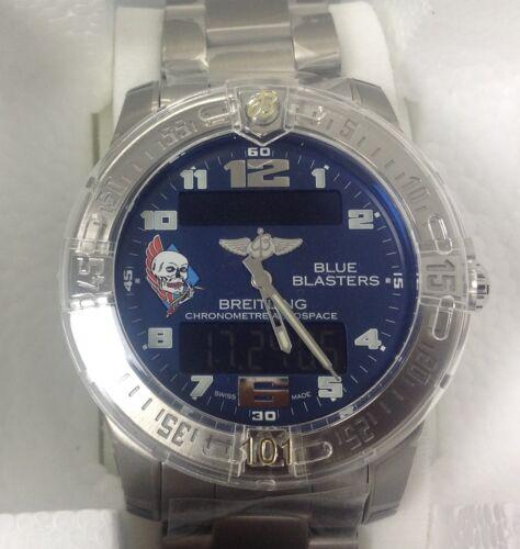 "New Breitling Ltd Edition 23 Pcs. ""blue Blasters"" Aerospace Evo Titanium Watch"
