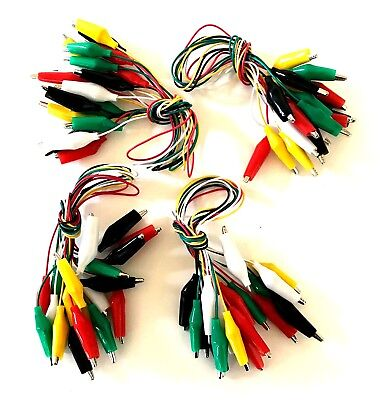 40pc Wire Test Leads Alligator Roach Clip Jumper Wire 14 Multi Color Czatl10