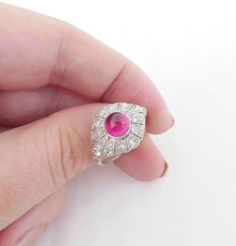 Platinum cabochon ruby rose cut diamond ring, large cluster art deco 1910