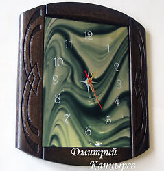 Wall clock wooden blue stained glass mirror carved wood stylish design novelty