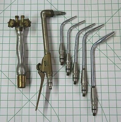 Rare C. 1950 Vintage Oxweld Torch Cutting Attachment Tip Set Oxy Acetylene Usa