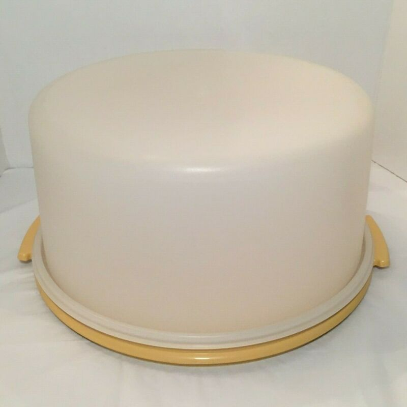 "Vintage Tupperware 12"" Cake Taker Keeper Harvest Yellow 1256-5 & 1257-5"