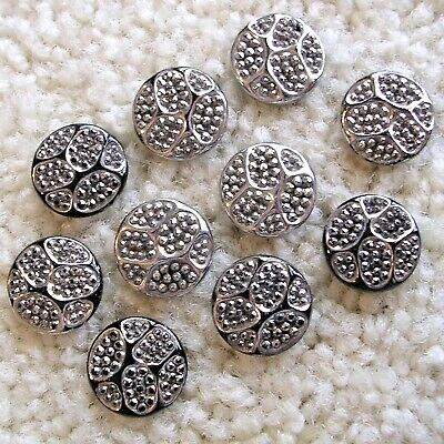 6 GLASS BUTTONS with SILVER Luster