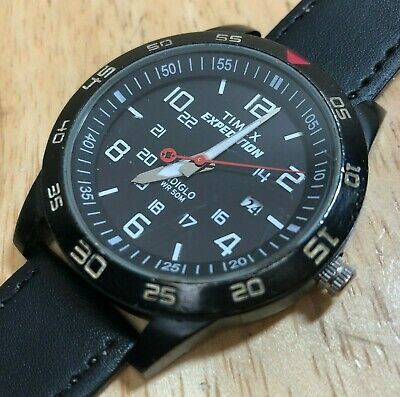 Timex Expedition Men 50m Black Diver Style Analog Quartz Watch Hours~New Battery