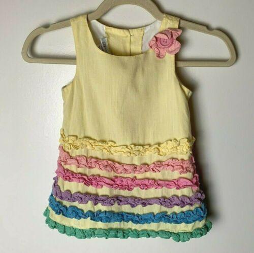 Bonnie Jeans Toddler Girls Sleeveless Dress Size 4T Pastels Ruffles Flower