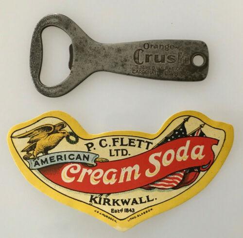 Vintage Orange Crush Bottle Opener P.C. Flett American Cream Soda Label Kirkwall