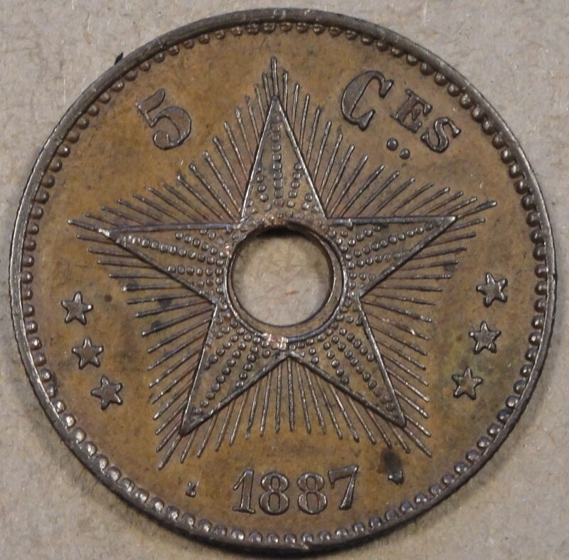 Belgian Congo 1887 Five Centimes AU as Pictured