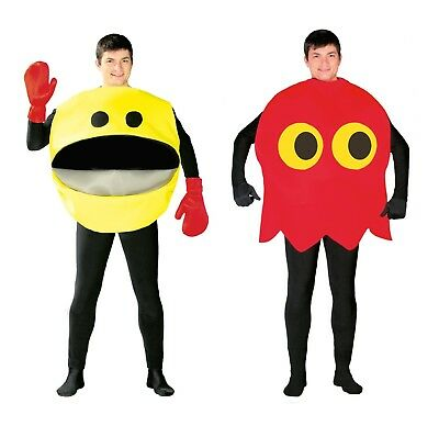 Adult Pac Man Yellow Ghost 80s 90s Video Game Arcade Fancy Dress Costume - Pacman Ghosts Costumes