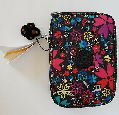 Kipling 100 Pens Pencil Case Large Cosmetic Pouch Floral black Monkey NWT