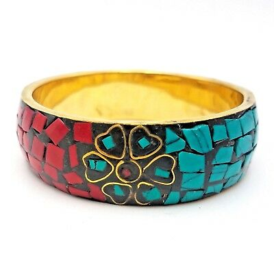 Tribal Red Coral Turquoise Chips Bangle Brass Bracelet Jewerly