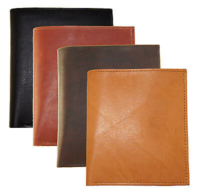 New Mens Leather Bifold Wallet Slim Hipster Cowhide Credit Card Id And Inserts