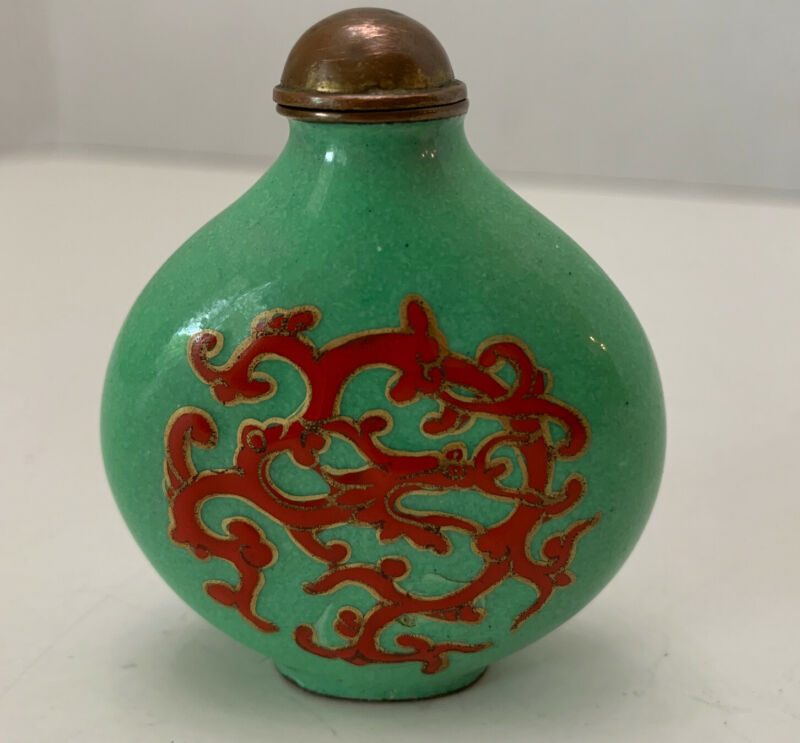 Asian cloisonne snuff bottle Green enamel With Red Painted Dragon.