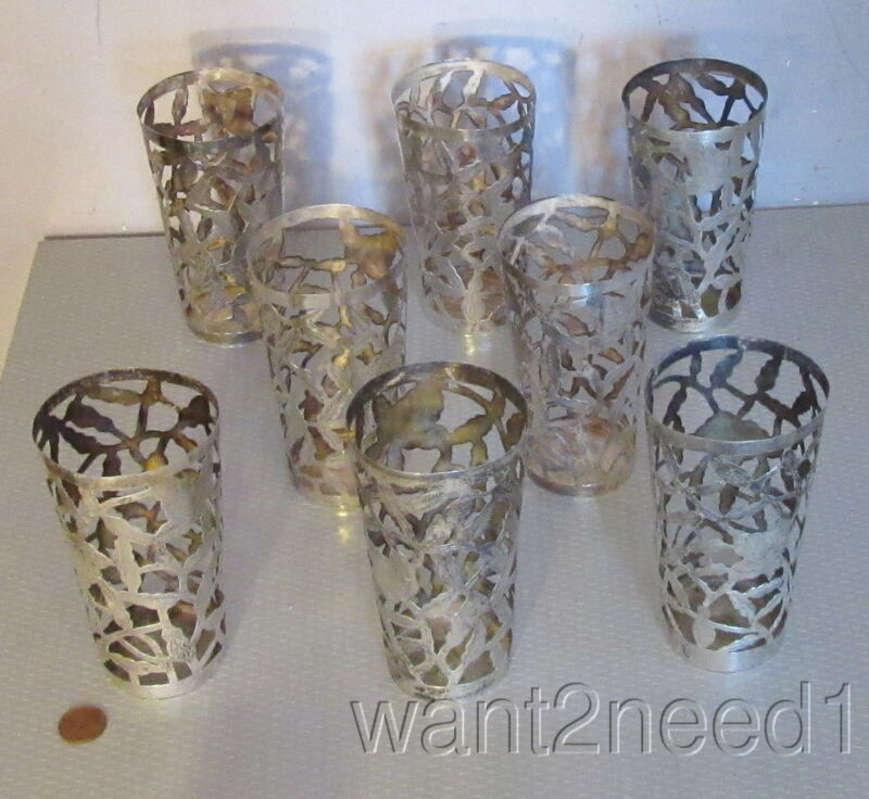 50s vtg set 8 MEXICO 925 STERLING SILVER TUMBLER HOLDERS pierced no glass 240g