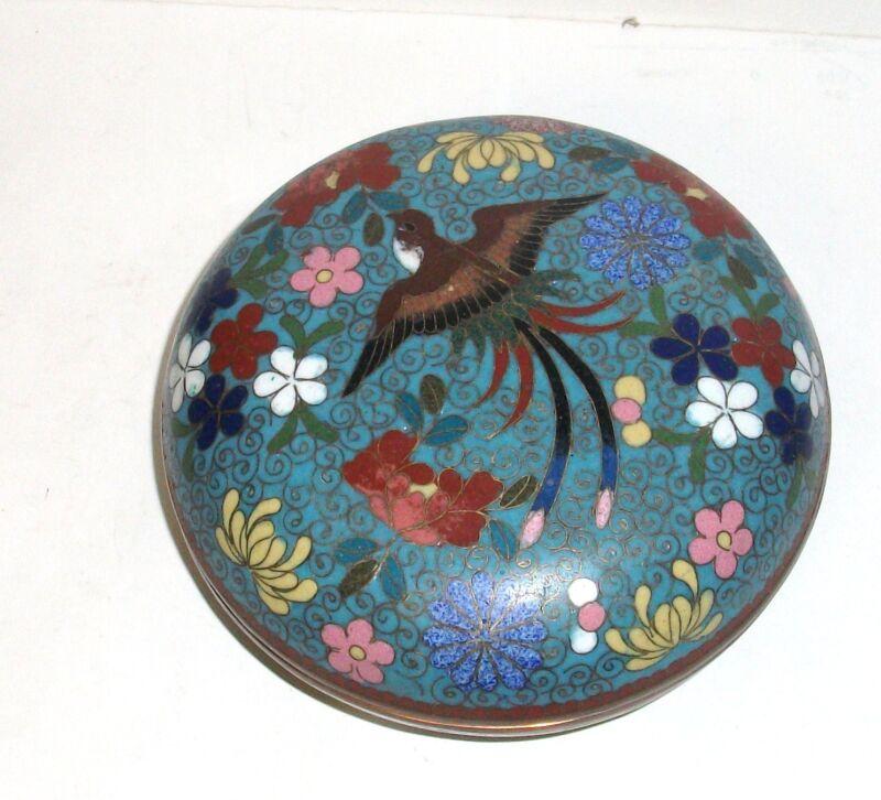 MEIJI 1910 PERIOD BLUE CLOISONNE ENAMEL FLORAL BIRD JAR LARGE BOX