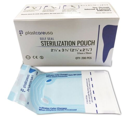 "400 2.25"" X 2.75"" Self-sterilization Pouches Autoclave Bags Dental Tattoo, 2 Box"
