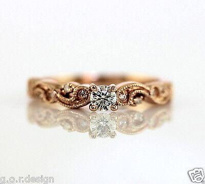 0.30 Carat Diamond Milgrain Antique Scroll Delicate Ring in 14k Rose Gold (Delicate Antique Scroll Ring)