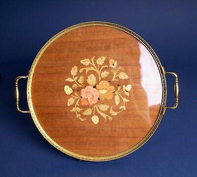 Vintage Intarsitalia Wood Inlaid Tray Made in Italy Barware Gift