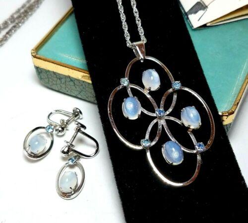 Vintage Van Dell Sterling Moonstone Necklace Earring Set w Original Box GORGEOUS