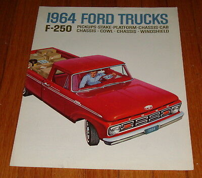 Original 1964 Ford F-250 Pickup Truck Sales Brochure Styleside Flareside Stake for sale  Shipping to United Kingdom