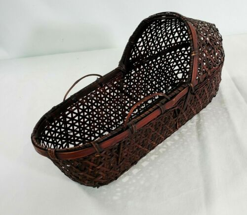 """Brown Wicker 12"""" Basket Baby Doll Storage Container Display Small Vintage"""
