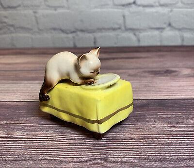 Vintage Norcrest Siamese Cat Figure Table Milk Saucer Plate Japan Ceramic A112