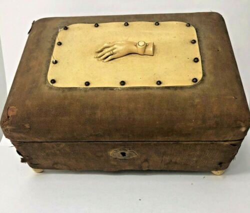 """Unique Antique Jewelry Box with Hand wearing Watch & Ring Decoration 6"""" x 9"""""""