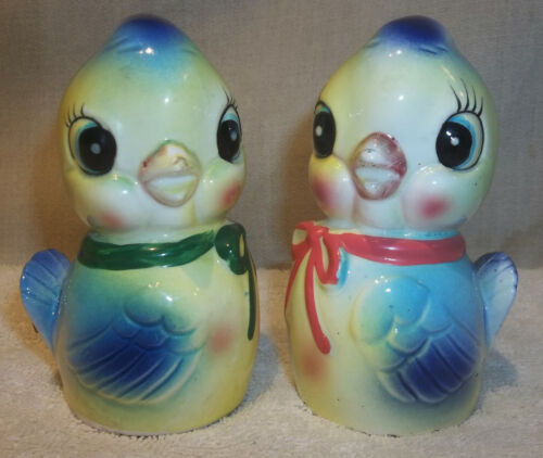 Vintage Commodore Japan Ceramic Bluebird Noisemaker Salt & Pepper Shakers Lefton