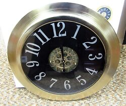 LARGE 24 METAL CONTEMPORARY WALL CLOCK  WITH MOVING GEARS IN THE CENTER 66989