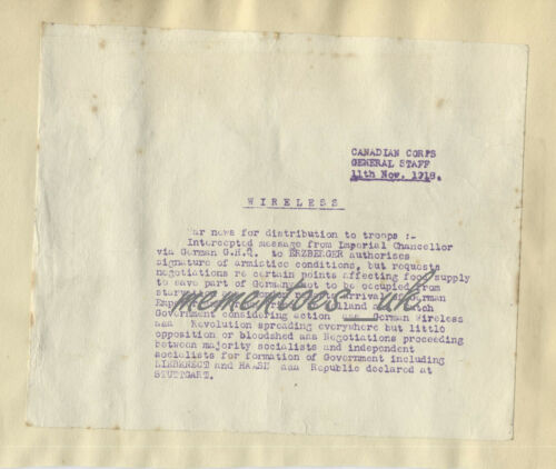 WW1 Armistice Canadian Corps Message typed frontline troops 11th Nov 1918 Heakes