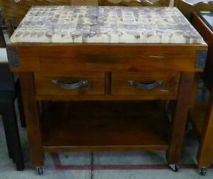 Timber Butcher Block Mobile Chopping Board Kitchen Cutting Island Melbourne CBD Melbourne City Preview