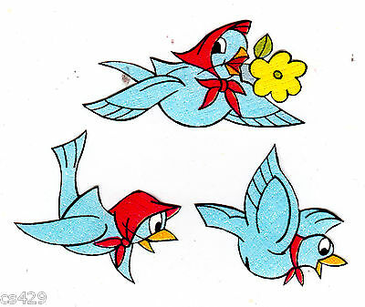 blue bird set vintage prepasted wall border cut out  (Snow White Cut Out)
