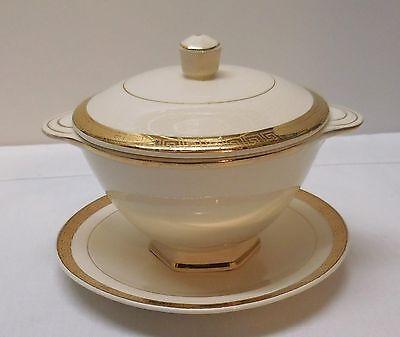 Sugar Bowl Sauce Dish Rice Etched 22K Gold Limoges China Co Sebring OH USA Set 3 Sauce Dish Bowl