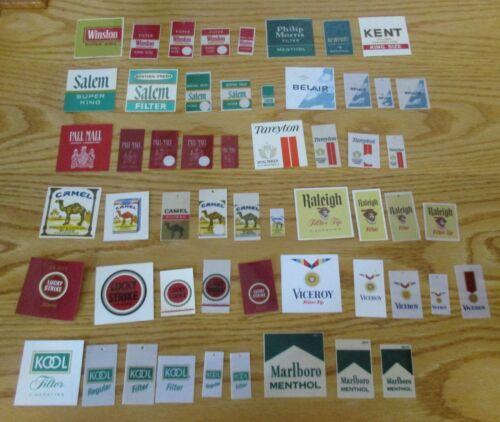 Vintage Lot of 55 Cigarette Vending Machine Labels Camel Lucky Strike Lots More