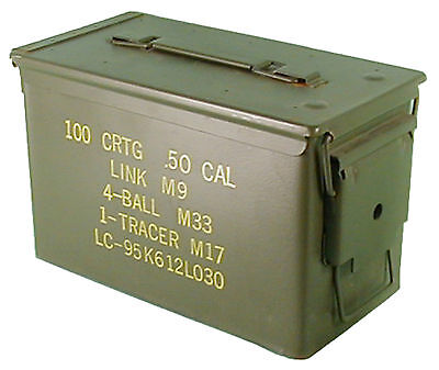 US ARMY OLIVE MEDIUM METAL AMMO BOX USED MILITARY SURPLUS