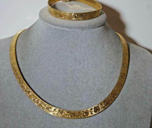 VINTAGE GOLD PLATE MONET  CHOKER NECKLACE BRACELET SET ROSE DESIGN