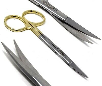 Gold Handle Fine Point Iris Micro Dissecting Scissors Curved 4.5 Premium