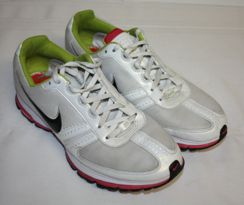 Womens Ladies Nike Zoom White Pink Green Black Swoosh Running Sneakers Sz 10M