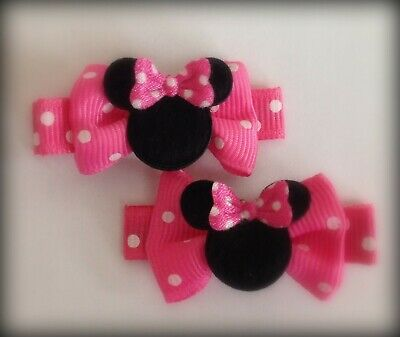 Boutique Hair Clips Bows Minnie Mouse Hot Pink Dots Bowtique Disney Dress Up - Minnie Mouse Hair Clips